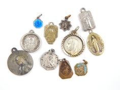 Vintage Catholic Medal Lot Virgin Mary, Lady of Mount Carmel, Immaculate Conception, Guardian Angel - St Rita - Religious Charms by LuxMeaChristus