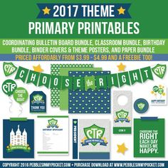 pebblesinmypocket.com Primary 2017 theme Choose the Right, CTR. LDS, LDS Printables