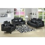 AC Pacific - Jessica 3 Piece Bonded Leather Black Sofa Set - Jessica-BLACKSLC  SPECIAL PRICE: $1,381.38