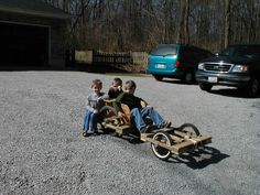 Go Cart built from unused boards and bicycle wheels...fun fun