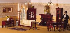 Dollhouse Dining Rooms by dheminis    Lewis prepares for tonight's special candle-lit supper.