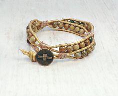 Boho Wrap Bracelet - Wrap Around bracelet - Leather Bead Bracelet - Womens Bracelet - Hippie Wrap Bracelet - Leather Wrap Bracelet Beaded Wrap Bracelets, Beaded Jewelry, Unique Jewelry, Bohemian Style Jewelry, Boho, Fashion Bracelets, Fashion Jewelry, Southwestern Style, Flourish