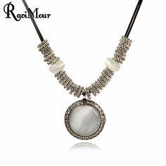 RAVIMOUR Chokers Kobiety Naszyjnik Biżuteria W Stylu Vintage Srebrny Okrągły Opal Kamień Maxi Naszyjniki Moda Bijoux Collier Femme