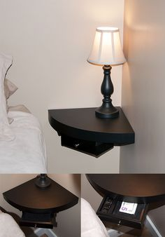 floating shelves replace night stands in small bedrooms ( could use a bigger one for Tv in the living room!)