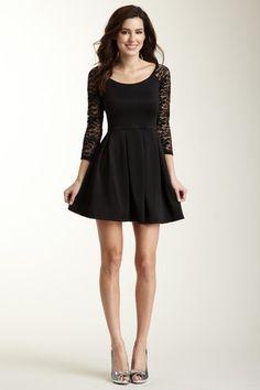 Lace Sleeve Pleated Skirt Dress $29.00