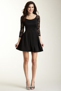 Lace Sleeve Pleated Skirt Dress $29.00