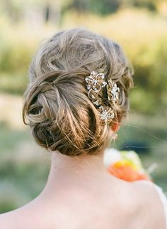 #Hair | Love the style, the color and the jewels! | See the wedding on SMP here - http://www.stylemepretty.com/little-black-book-blog/2013/02/13/boulder-colorado-wedding-from-anna-be-bridal-boutique-part-ii/