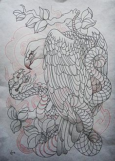 Tattoo design - Eagle and snake lineart by Xenija88 on deviantART