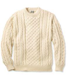 57b56070997 LL Bean FISHERMAN Sweater MENS Beige CABLE KNIT Wool IRELAND Crewneck SIZE  Sz XL  LLBean