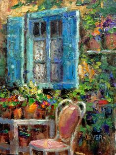 Art Talk - Julie Ford Oliver: Blue Shutters - France.