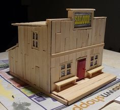 Popsicle Stick House | ... chopping popsicle sticks (not near as easy to cut as Balsa wood