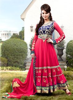 Indian Ocassion Wear Hot Pink Anarkali Salwar Kameez