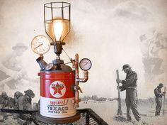 Steampunk, Texaco, lampe, éclairage, Art, jauges, cuivre, laiton, jerrican, Edison, Gears, MasterGreig - MG-333