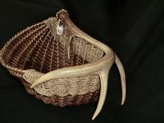 antler  basket. smoked reed white tail deer antler basket