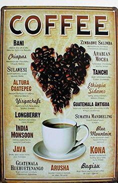 Java Brew Coffee Caffeine Rustic Metal Sign