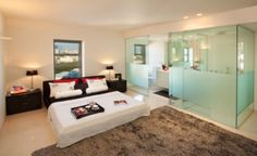 Here are a gorgeous bedroom design ideas and contemporary bedroom interior design photos Bathroom Window Treatments, Bathroom Windows, Glass Bathroom, Bathroom Glass Wall, Bedroom With Ensuite, Ensuite Bathrooms, Master Bedroom Design, Bedroom Designs, Master Bathroom