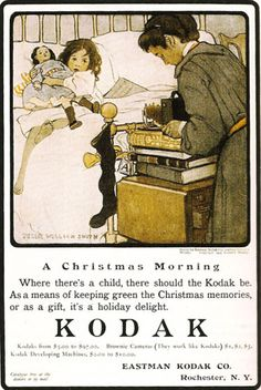 """A Christmas Morning"" Jessie Wilcox Smith. Which also happens to be an Awesome looking old Kodak advertisement <3"