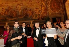 In this handout photo provided by Germogli, Princess Caroline of Hannover, Matteo Renzi, Mayor of Florence, and Philippe Blanchi, Monaco Ambassador attend the Lily Ball (Ballo del Giglio) on October 15, 2010 in Florence, Italy.