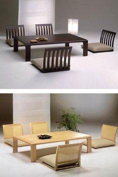 Japanese-style floor dining room tables and chairs