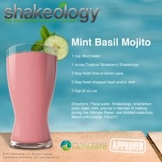 Kick up your Shakeology recipe with this Mint Basil Mojito vegan concoction. Perfect for when you feel like escaping to your own private tropical island