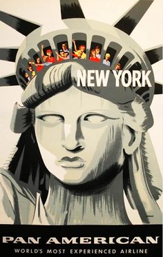 Vintage Travel Poster New York - Statue of Liberty