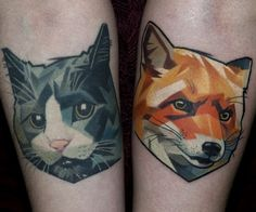 New school style colored forearm tattoo of fox with cat heads