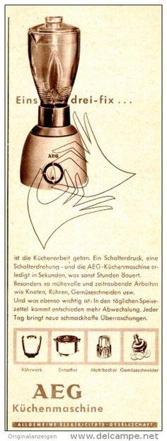Original-Werbung/ Anzeige 1957 - AEG KÜCHENMASCHINE - ca. 60 x 160 mm