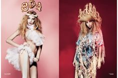"""""""Dollywood"""" fashion editorial in the new SS/13 USED Magazine. Photography by Brendan Freeman, make up by Isamaya Ffrench, hair by Liam Curran. Left: headpiece by Luke Brooks, top and pants by Pam Hogg. Right: hat, t shirt and dress by Luke Brooks. Art direction and design by USEFUL (www.weareuseful.com)."""