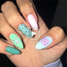 45 Inspiring Spring Nail Ideas that Make You Look Funny Edgy Nails, Grunge Nails, Stylish Nails, Trendy Nails, Cow Nails, Aycrlic Nails, Swag Nails, Coffin Nails, Hippie Nails