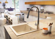 DE-Milin red - modern kitchen faucets for your home Small Farmhouse Kitchen, Rustic Kitchen Island, Long Kitchen, Kitchen Island With Seating, Kitchen On A Budget, Granite Kitchen Sinks, White Kitchen Sink, Kitchen Appliances Brands, Interior Design Help