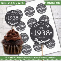 80th Birthday Cupcake Toppers 1938 Vintage Aged To Perfection