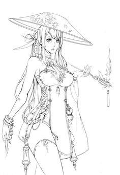 Manga Drawing Design Blade and Soul Online Character concept line art Manga Drawing, Manga Art, Drawing Sketches, Art Drawings, Comic Kunst, Comic Art, Fantasy Kunst, Fantasy Art, Wie Zeichnet Man Manga