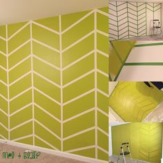 DIY Herringbone Accent Wall done by us! Step 1- Measure and tape your wall with…