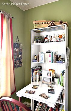 Bookshelf Desk Mine Is Almost Like This But Folds Up To Hide The Crafting