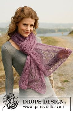 "Knitted DROPS scarf in ""Vivaldi"" and ""Glitter"". ~ DROPS Design.  Another gorgeous free pattern"