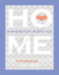 Custom HOME IS WHEREVER I'M WITH YOU print with names and wedding year.