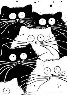 * # Illustration * – We Love Cats I Love Cats, Crazy Cats, Cute Cats, Weird Cats, Funny Cats, Animal Gato, Cat Quilt, Cat Crafts, Here Kitty Kitty