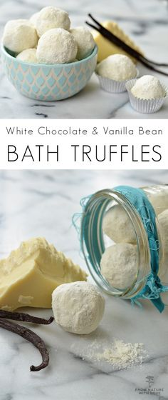 These all natural White Chocolate & Vanilla Bean Bath Truffles are easy to make and smell AMAZING.