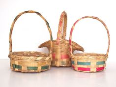 Vintage Easter baskets.~ I have the 2 on the right.not sure of the age but i think one of them is mine from the 1960's.~ B.G. .