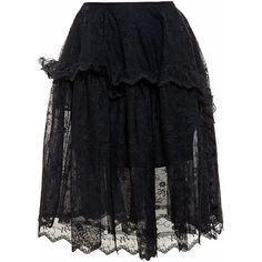 Simone Rocha Full Lace Skirt featuring polyvore, women's fashion, clothing, skirts, bottoms, black, sheer lace skirt, flare skirt, sheer skirt, frilly skirts and transparent skirt