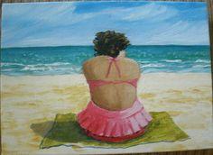 Original Painting Set of 3  5x7 inch Ladies on by MARVINSTUDIO, $25.00