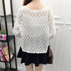 Camisas Mujer 2017 Spring Summer Crochet White Lace Blouse Women Fashion Tops Sexy Hollow Out Knitted Cardigan Chemise Femme 16 White Lace Blouse, White Beige, Sweaters For Women, Womens Fashion, Crochet Tops, Front Porches, Spring Summer, Crochet Batwing Tops, Vestidos