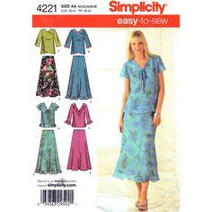 Womens Top & Skirt Pattern Simplicity 4221 by finickypatternshop