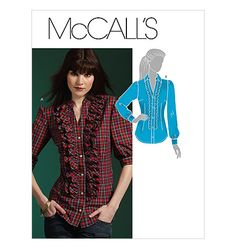 McCall's - This one is going on both boards because it's a mashup of pro and anti-hourglass features. The cut of the blouse is good for an hourglass, but the ruffles are not. Skip the ruffles, and you should end up with a nice blouse. How To Make Clothes, Diy Clothes, Making Clothes, Mccalls Sewing Patterns, Ruffle Shirt, Top Pattern, Workout Shirts, Shirt Blouses, Fashion Outfits
