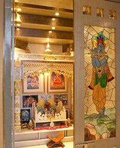 Get ideas on designs for pooja room in hall. Discover amazing Pooja Mandir for Home and use them to create a peaceful environment in your house. Temple Room, Home Temple, Temple Design For Home, Indian Interior Design, Decor Interior Design, Modern Interior, Mandir Design, Pooja Mandir, Pooja Room Door Design
