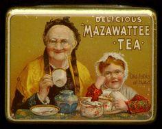 "Mazawattee ""Old Folks At Home"" Tea Tin circa 1910 Tea And Coffee Canisters, Tea Tins, Ligne Claire, Tin Containers, Tea Box, Tea Caddy, Vintage Tins, Tin Boxes, Retro"
