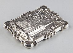 American coin silver card case of Trinity church at Wall St & Bald Eagle, in NYC. C1850   The church was completed in 1846 by Richard Upjohn. At the time the the 281 foot spire and cross stood as the highest point in NYC.