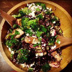 broccoli, chicken, quinoa, beet, feta salad