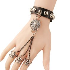 New Arrival handmade fashion brand jewelry multilayer leathe skull angel wing bracelets for womens212