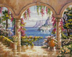 Terrazze Laghii- Affreschi vendita affreschi su tela,vendita affreschi per muro,falsi d'autore,decoupage effetto affresco